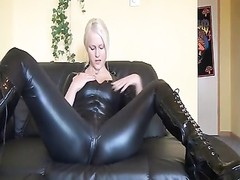 steamy german blondy in latex and boots pokes  herself Thumb