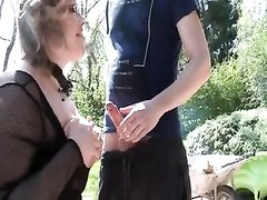 French dilapidated Julia gangbanged in the garden Thumb