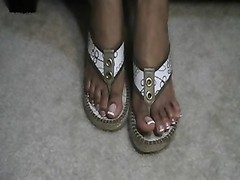 black  french tip gold sandals Thumb