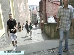 hot czech babe natalie shows her naked figure on public street Thumb