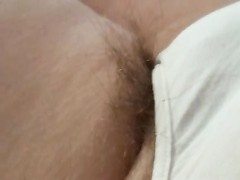 Long pubic hair draping from wifes pantys, feet Thumb