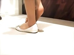 candid Shoeplay Feet in White Flats Nylons Thumb