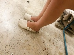 My ex-gf adorable  feet in toms with crushed heels - candid Thumb