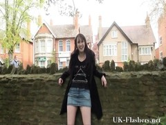 fearless public flasher and outdoor fledgling  stunner exposing rock-hard  breasts and trim Thumb