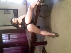 miniature brunette undresses and rails  a huge monster. Her good video! Thumb