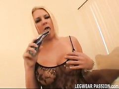 tubby blonde Jalyn toying in taut  fishnets Thumb