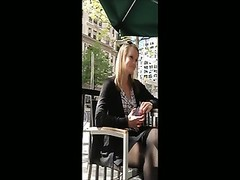 Hidden camera, remarkable  blondie unlit pantyhose, affable feet. Thumb