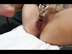 Toying my tight little vulva with Bottle & Glass fake penis  - amateur - Homemade Thumb