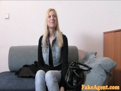 FakeAgent buxom blondie babe gets spunked over Thumb