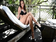 Highest hooker tall heels in swimsuit , legplay & shoeplay Thumb