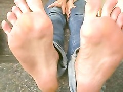 hilarious female, dumb Offering feet Thumb