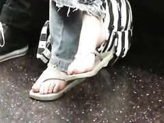 impersonal Nerdy teenage  Flip-Flop Feet Shoeplay on Bus Thumb