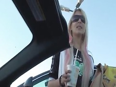 blonde German female pickup and drill Thumb