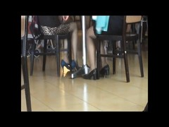 impersonal Asians sexy Shoeplay Feet in Nylons at Airport Thumb