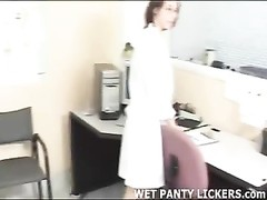 lesbian doctor gets her patient's undies soddening  moist Thumb