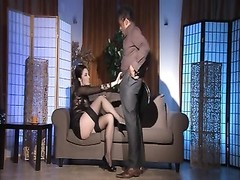 Monella shadowy Stockings hook-up  On couch Thumb