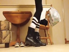 Combat boots fetish crushing Coach sneakers Thumb