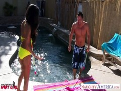 Brunette bombshell Trinity St. Clair pummeling at poolside Thumb