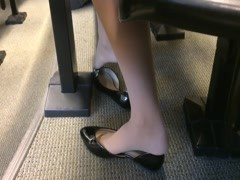 Candid US College Teen Shoeplay Feet Dangling in Nylons PT 2 Thumb