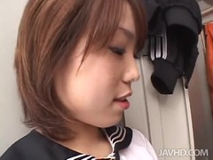 Short-haired Asian babe blowing three dicks simultaneously Thumb