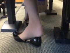 Candid US College Teen Shoeplay Feet Dangling in Nylons PT 3 Thumb