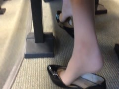 Candid US College Teen Shoeplay Feet Dangling in Nylons PT 4 Thumb