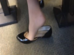 Candid US College Teen Shoeplay Feet Dangling in Nylons PT 5 Thumb