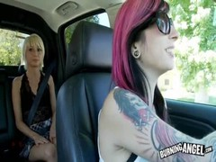 Blonde seducing her new companion at the backseat in the video by Burning Angel Thumb