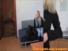 FakeAgent Busty Blonde Babe gets jizzed over in Casting interview Thumb