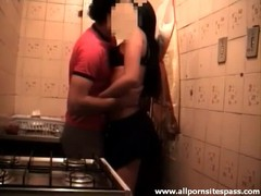 Lustful amateur couple enjoy sex in the kitchen Thumb