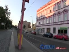 Czech Hottie sucks and fucks from behind in public Thumb
