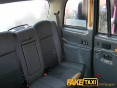 FakeTaxi Two pussy licking customers enjoy the ride Thumb