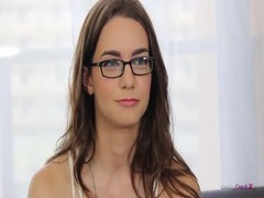 Nerdy brunette is demonstrating her nice boobies for interviewer Thumb