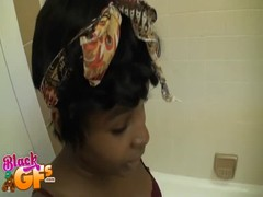 Sweet black gf beauty is sucking in the bathroom Thumb