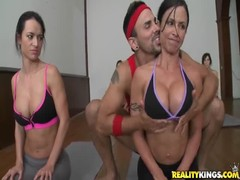 Sporty babes jerking their trainer in CFNM Secret video Thumb