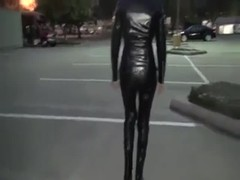 walking in full leather outfit and tight boots Thumb