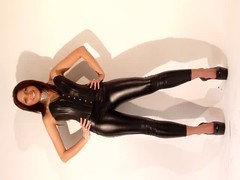 sexy tight shiny outfit with heels Thumb