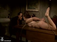 Rude bitch Issa Bella tied up her young girlfriend Mandy Bright to the table and rudely scoffing on Thumb