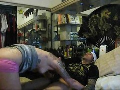 inexperienced tattoo dame in glasses deep-throat and drill Thumb