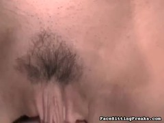 Big-ass blonde smothering his face in Face Sitting Freaks video Thumb