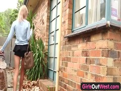 Skinny amateur blondie outdoor toying Thumb