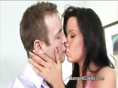 Coed Tanner Mayes penetrated and gets sticky facial in the classroom by kinky teacher Thumb
