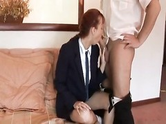 Schoolgirl in blouse and truss screwed Thumb
