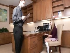 Schoolgirl in his office rammed tough Thumb
