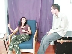 petite chick in camo pants blows a penis Thumb