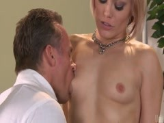 Blonde Ash Hollywood gets her pussy licked on the table Thumb