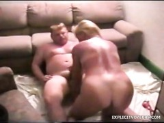 Small tits blonde blows and fucks with a fat guy Thumb