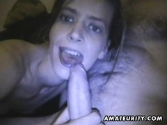 A brunette fledgling  girlfriend homemade suck off with jizz shot in her mouth  She guzzles  it all Thumb