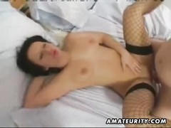 A very steamy big-titted amateur gf  homemade hardcore activity  ending with a jizz flow  in her mou Thumb