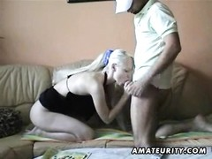 A very scorching and youthful inexperienced yellow-haired gf  homemade blowage  and nail on the sofa Thumb